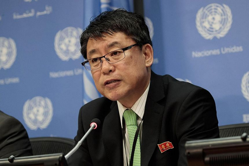 North Korea's Permanent Representative to the United Nations Kim In Ryong, speaking during a press conference at the United Nations on March 13, 2017.