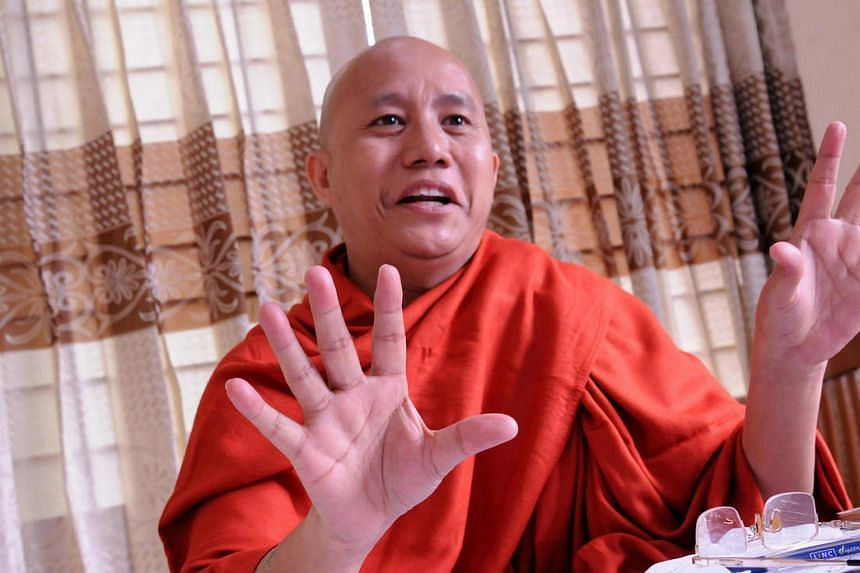 "On Facebook on Feb 26, Wirathu (above) had expressed ""relief"" at the murder a month earlier of Ko Ni, a Muslim legal adviser to the National League for Democracy (NLD)."