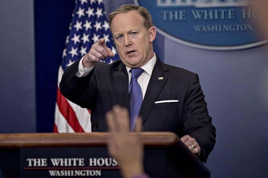 White House press secretary Sean Spicer takes a question during a press briefing on March 13, 2017.