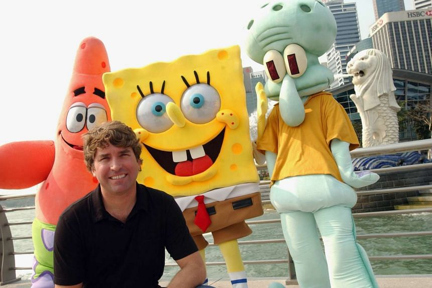 Stephen Hillenburg with his creations, (left to right) Patrick Star, SpongeBob Squarepants and Squidward.