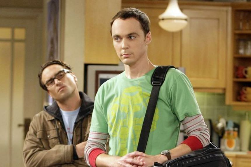 """Johnny Galecki, left, and Jim Parsons, who plays Sheldon Cooper, on an episode of """"Big Bang Theory."""""""