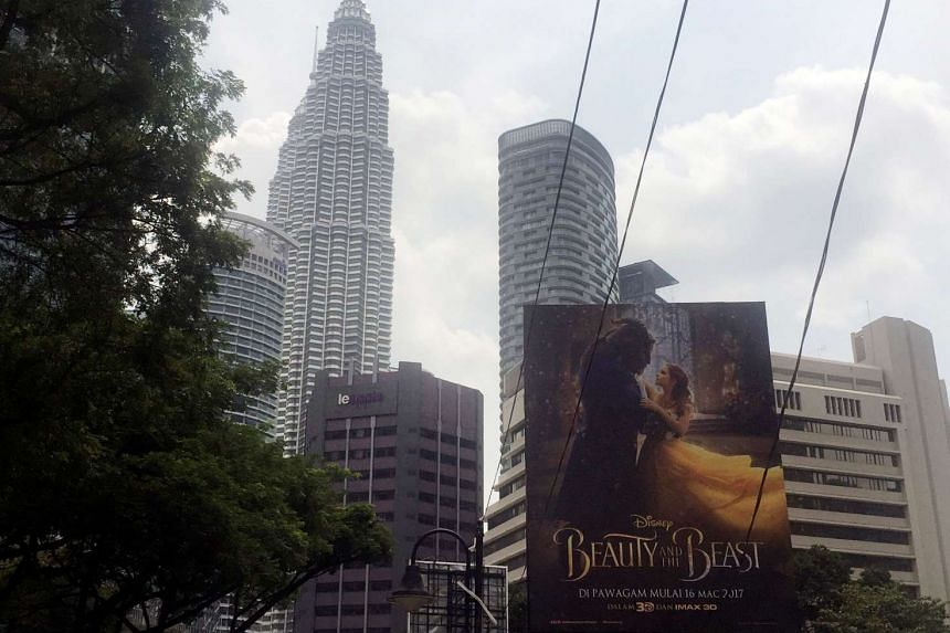 A Beauty And The Beast poster in downtown Kuala Lumpur, Malaysia, on March 14, 2017.