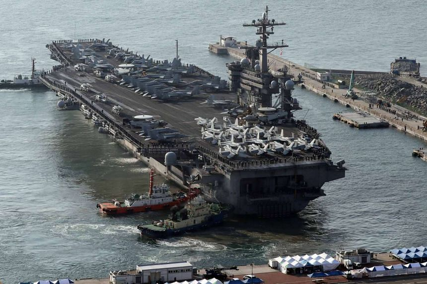 The USS Carl Vinson sitting in Busan port, ahead of a joint US-South Korea military exercise, on March 15, 2017.