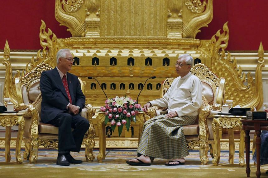 Myanmar's President Htin Kyaw (right) with Singapore's Emeritus Senior Minister Goh Chok Tong during their meeting at the presidential house in Naypyitaw, Myanmar, on March 15, 2017.