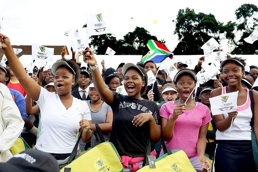 Durban primary school students expressing their delight after the South African city was officially named as the host of the 2022 Commonwealth Games in September 2015. With Durban having been stripped of its staging rights over their inability to mee