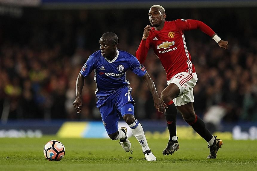 Chelsea midfielder N'Golo Kante getting the better of fellow France international Paul Pogba. The match-winner outshone the Manchester United midfielder in the FA Cup on Monday.
