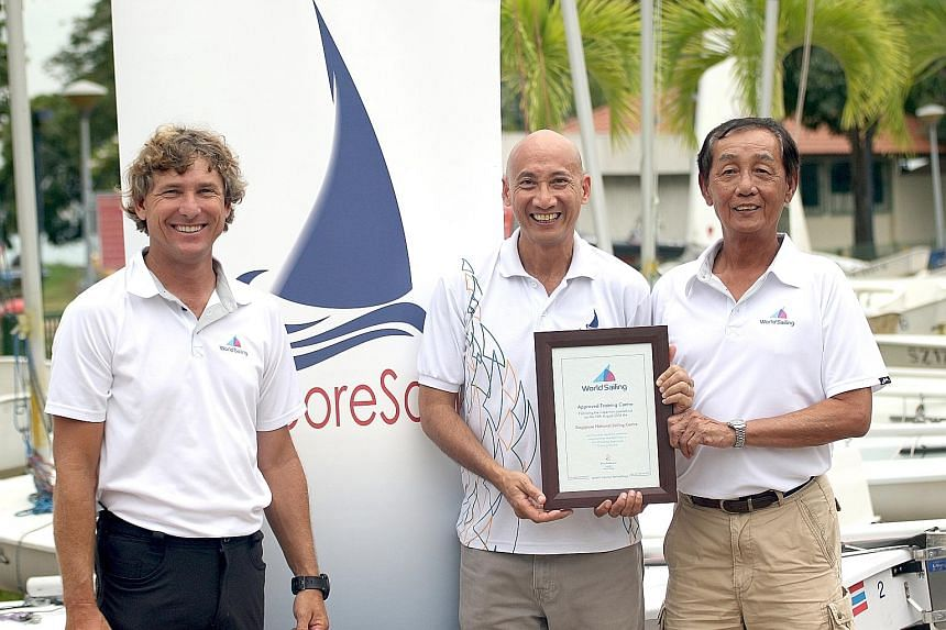 World Sailing adviser Robert Holden with SingaporeSailing CEO Andrew Tam (centre) and Joe Chan. There are only five World Sailing Approved Training Centres in the world.