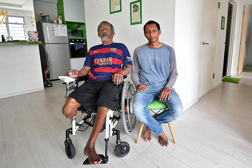 Mr Aziz, previously an active man who worked two jobs, lives with his son, Mr Faizal, whose motorcycle he took despite not having a licence. The accident left Mr Aziz paralysed and with only one leg. Mr Faizal now cares for his father and takes him o