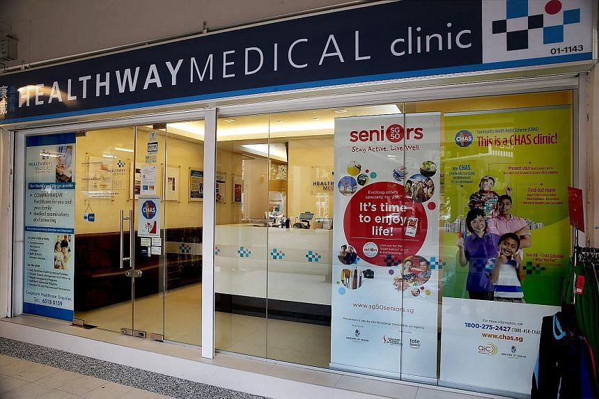 At least seven Healthway Medical Corp clinics were left without a doctor on Monday, including this one in Tampines Street 21 (far left). Others, like Silver Cross Family Clinic in Holland Avenue, put up signs on the entrance. A spokesman said that ev