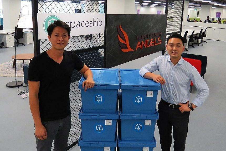 Spaceship founder and CEO Yeo Zhi Wei (left) with Mr James Ong, who is on the SCAngels investment committee. SCAngels, or Supply Chain Angels, is the venture arm of logistics company YCH Group.