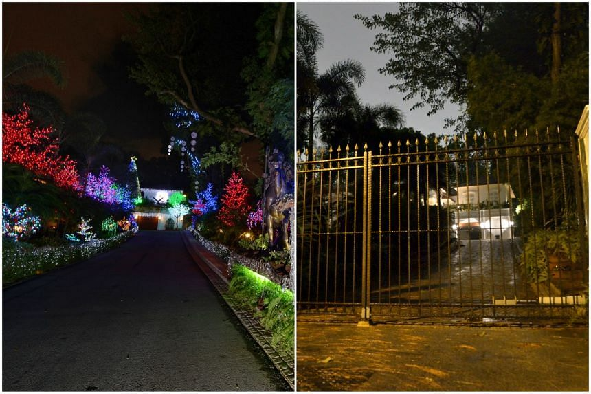 Francis' elaborate Christmas decorations in 2012 (above). This year, there are no festive lights or lavish displays at the 70,000 sq ft bungalow (right). Francis is being held in a US prison, having been charged with defrauding the US Navy of at le