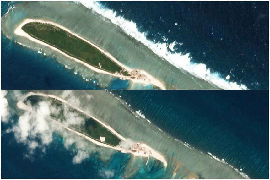 Satellite photos of Chinese-controlled North Island, part of the Paracel Islands group in the South China Sea, taken on Feb 15, 2017 (top), and on March 6, 2017.