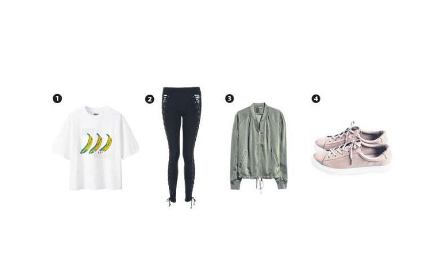 1. Short-sleeved graphic T-shirt (Andy Warhol) 2. Lace-up leggings 3.Bomber jacket 4.IGC x NOTA leather sneakers