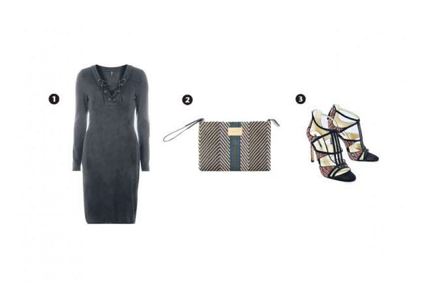 1.Only black lace-up dress, 2. Handle braided bag and 3. Contrast fabric high-heeled sandals
