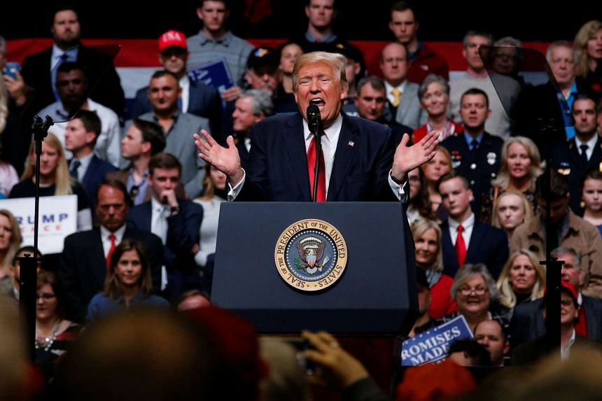 US President Donald Trump holding a rally at Municipal Auditorium in Nashville, Tennessee, on March 15, 2017.