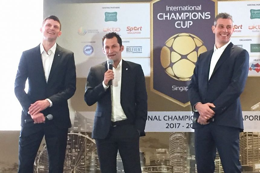 (From left) Tore Andre Flo, Hasan Salihamidzic and Francesco Toldo at the International Champions Cup press conference on Thursday (March 16).