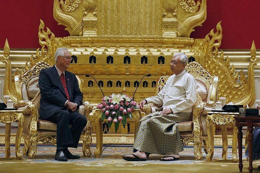 Emeritus Senior Minister Goh Chok Tong calling on Myanmar President Htin Kyaw at the Presidential Palace in Naypyitaw yesterday.