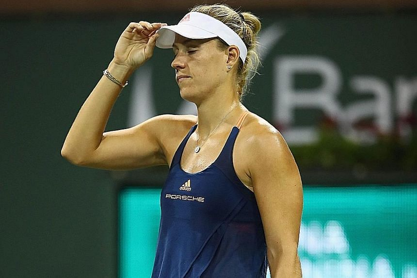 Second seed Angelique Kerber enduring a frustrating day at Indian Wells. She never led in her fourth round clash against Elena Vesnina.