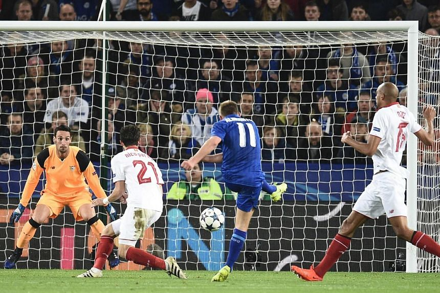 Midfielder Marc Albrighton scoring Leicester City's second goal during their Champions League round of 16 second leg match against Sevilla at the King Power Stadium.
