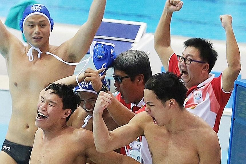 Singapore's water polo players celebrating their gold medal at the 2015 SEA Games. Using the sport as an example because he is a former water polo player, SportSG chief executive officer Lim Teck Yin said several members of a squad would have to comm