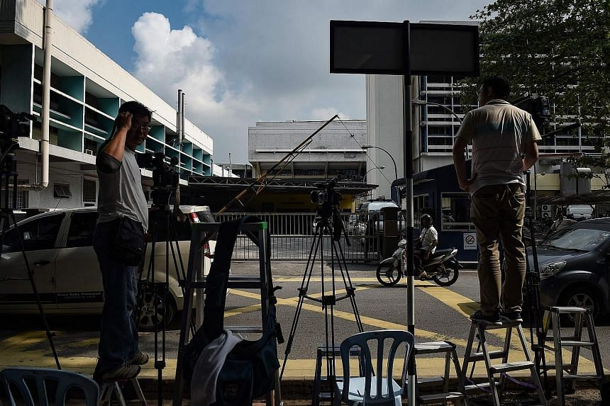 Members of the media waiting outside the forensics wing of the Hospital Kuala Lumpur, where the body of Mr Kim Jong Nam was being kept, on Tuesday.