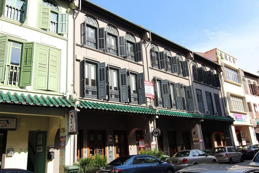Three adjoining 999-year tenure shophouses in Amoy Street in Tanjong Pagar were recently acquired by an institutional fund for $59.6 million, or about $2,500 per sq ft, based on the floor area.