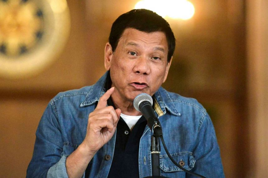 Philippine President Rodrigo Duterte announcing the disbandment of police operations against illegal drugs at the Malacanang palace in Manila, Philippines, on Jan 30, 2017.
