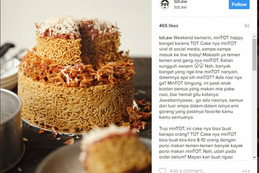 TOT.Aw's two-tier noodle cake creation is a hit on Instagram. SCREENSHOT: TOT.Aw/INSTAGRAM