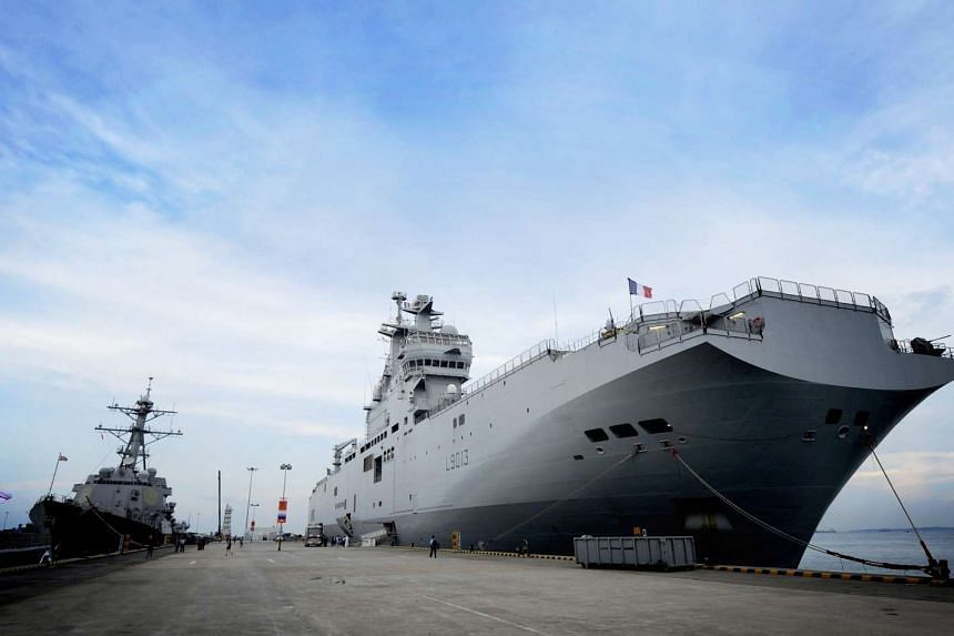 The Mistral amphibious carriers will lead drills on and around Tinian island in the western Pacific.