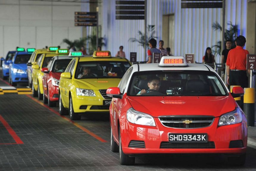 Taxis at the Marina Bay Sands Expo taxi stand.