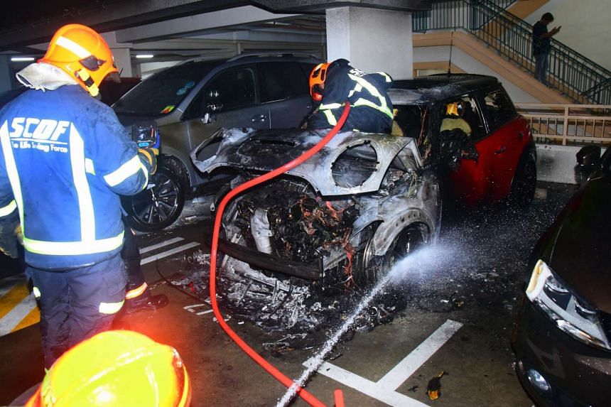 Car caught fire in a Jalan Membina carpark on March 16, 2017.