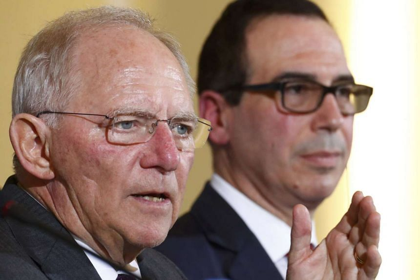 US Treasury Secretary Steve Mnuchin and German Finance Minister Wolfgang Schaeuble in Berlin, Germany, March 16, 2017.