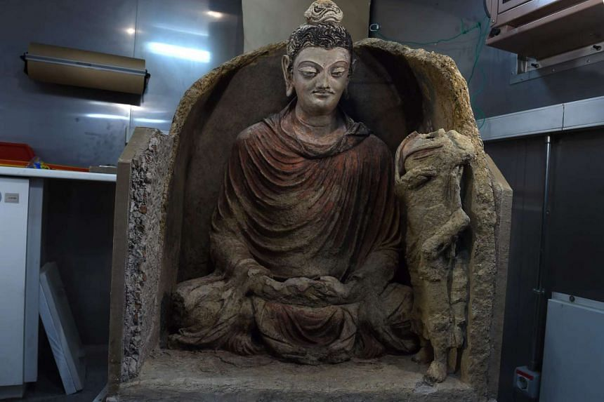 The statue of Buddha at the French Archaeological Delegation to Afghanistan (Dafa) office in Kabul.