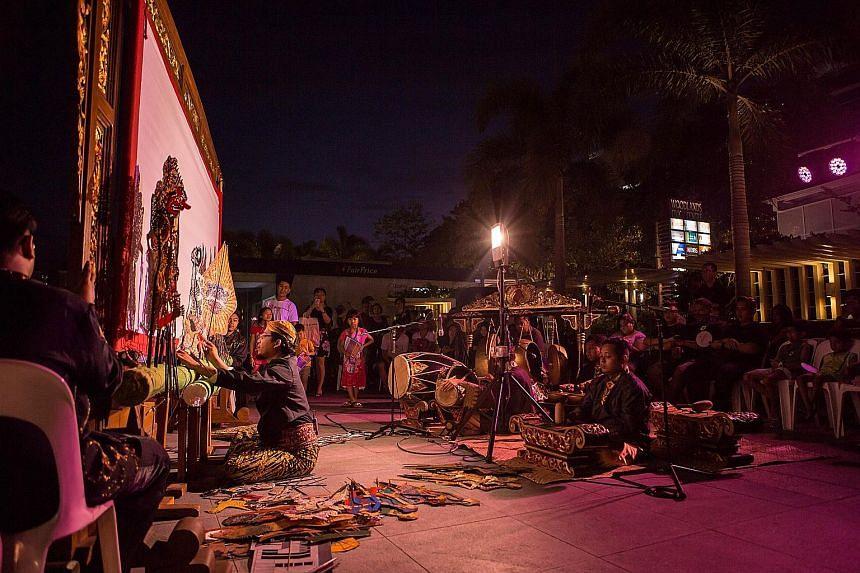 Local troupe Sri Warisan performing wayang kulit.