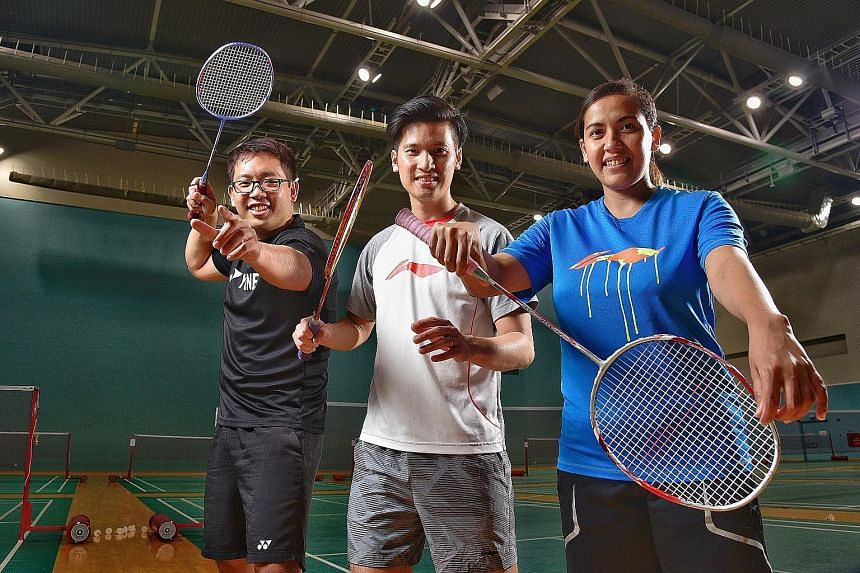 Former national badminton player Derek Wong (centre) is setting up his own academy to coach aspiring shuttlers. Other coaches in the academy run by the two-time Olympian and Commonwealth Games silver medallist will be his brother Shawn (left) and 201