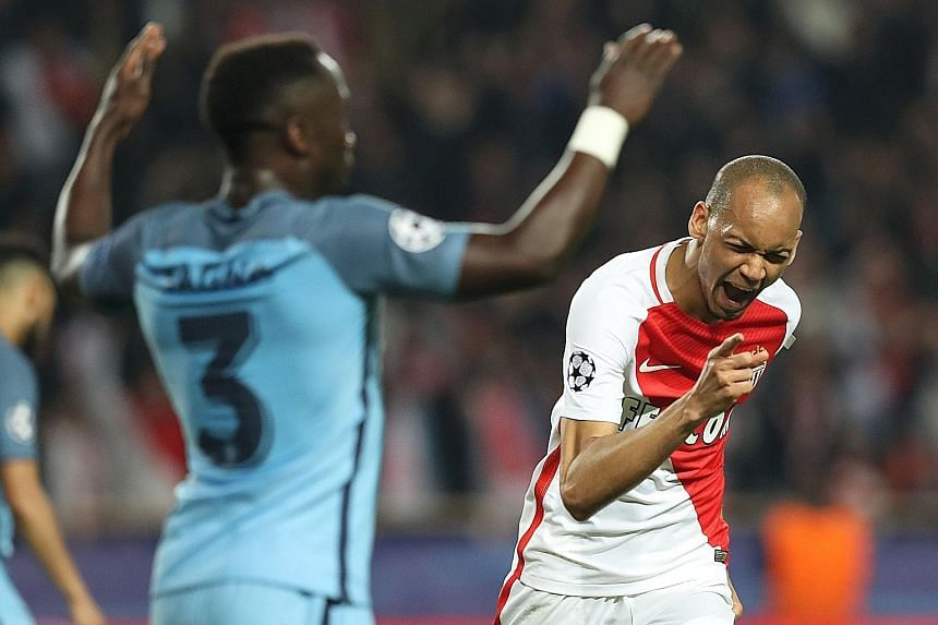 Monaco midfielder Fabinho celebrating his 29th-minute goal. Europe's top-scoring team beat Manchester City 3-1 and 6-6 on aggregate, going through on away goals. They will be a force to be reckoned with in the Champions League quarter-finals.