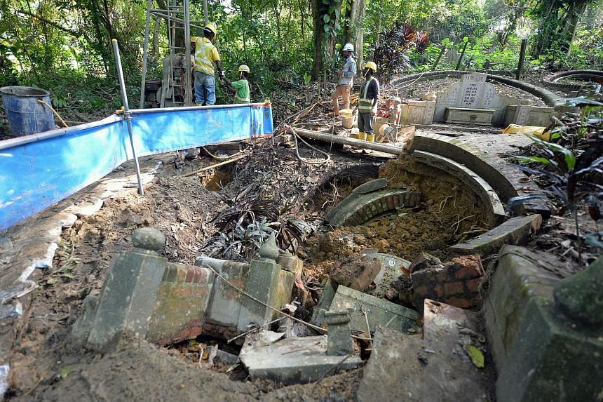 The cave-in, which was reported on March 4, was about 3m long, 2m wide and 1m deep. LTA has engaged an engineer to investigate the incident. The tomb belongs to a Mr Chen Yi Kuan and work to reinstate it has commenced.