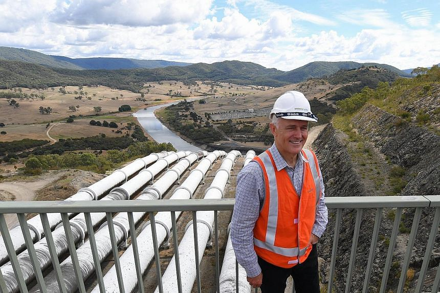 Australian PM Malcolm Turnbull at the Tumut 3 power station at the Snowy Hydro project in Talbingo, New South Wales, yesterday. The project, involving new tunnels and power stations, would boost the capacity of the 4,100MW hydroelectric plant by 50 p