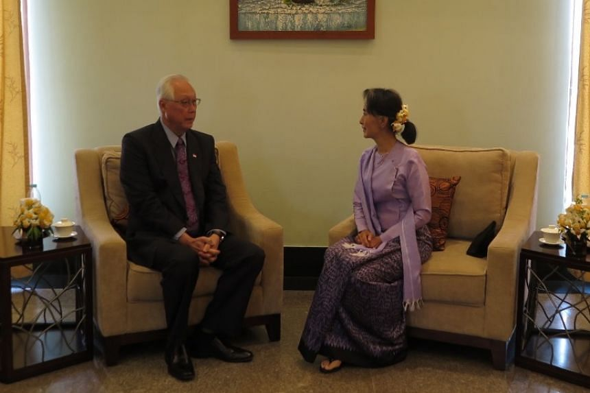 ESM Goh and State Counsellor Aung San Suu Kyi are pictured on March 16,  2017.