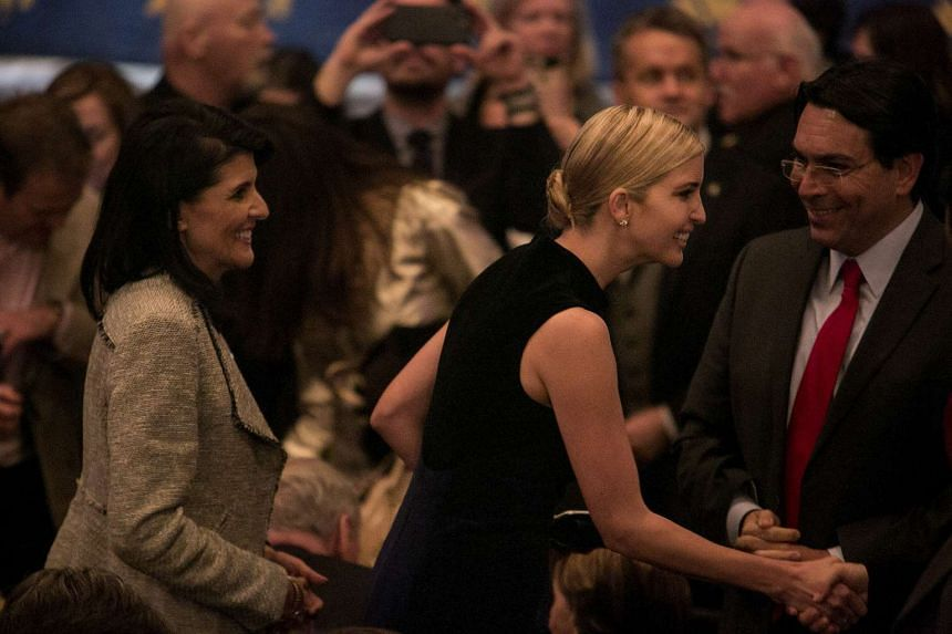 Nikki Haley (left), the US ambassador to the United Nations, and Ivanka Trump, greeting guests before the start of the Broadway musical Come From Away in New York, on Wednesday (March 15).