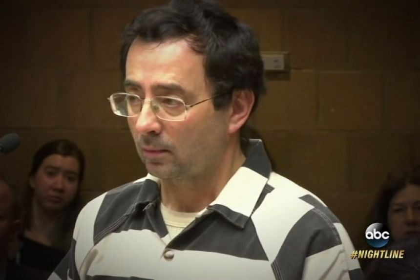 A screenshot of Larry Nassar from an online report on his court case.