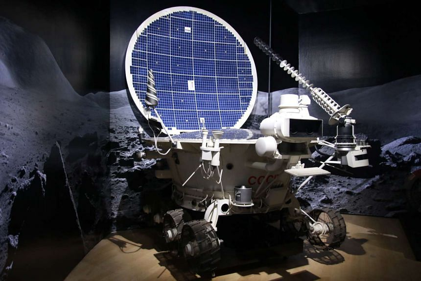 A full-scale replica of the Lunokhod 2, a remote-controlled lunar rover built by the Soviets between 1969 and 1977, on display at Nasa – A Human Adventure.