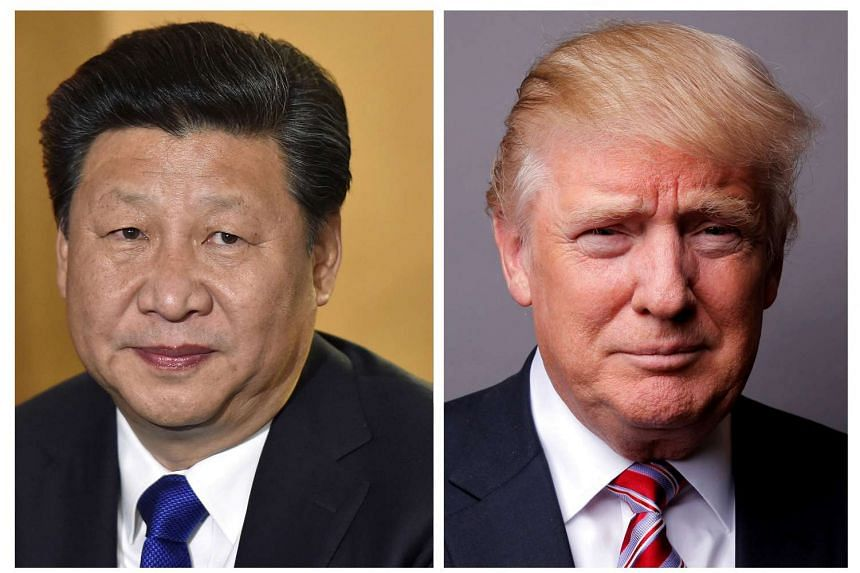 A combination of file photos showing Chinese President Xi Jinping (left) at London's Heathrow Airport, on Oct 19, 2015 and US President Donald Trump posing for a photo in New York City, on May 17, 2016.