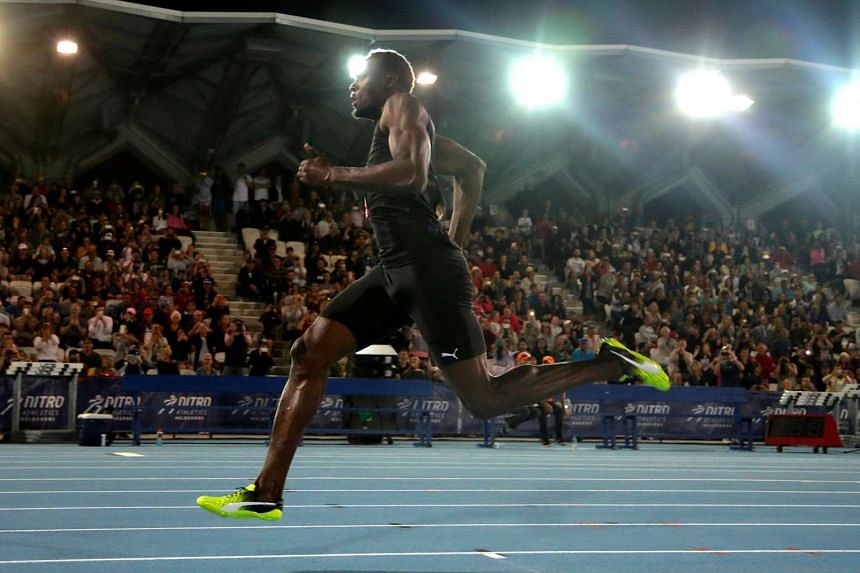 Jamaica's Olympic champion Usain Bolt runs during the final night of the Nitro Athletics series at the Lakeside Stadium in Melbourne, Australia on February 11, 2017.