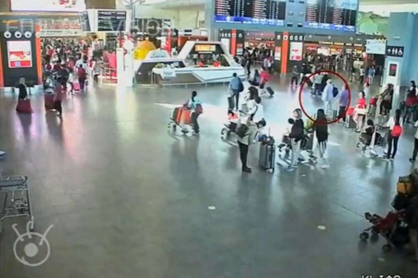 A screengrab from CCTV footage showing Mr Kim in a terminal at the KLIA2 on Feb 13. Two women have been charged with his murder.