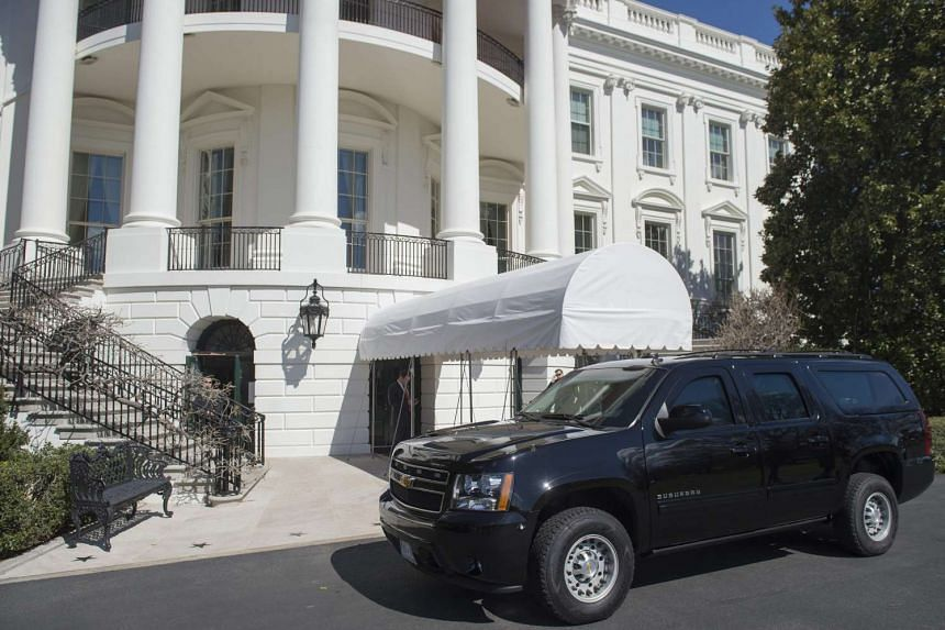 An SUV parked outside of the South Portico on the South Lawn of the White House in Washington, on March 11, 2017.