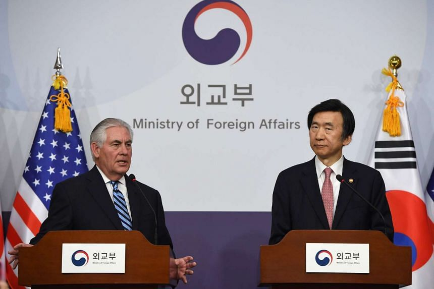 US Secretary of State Rex Tillerson (left) speaks as South Korean Foreign Minister Yun Byung-Se (right) looks on during a press conference in Seoul on March 17, 2017.