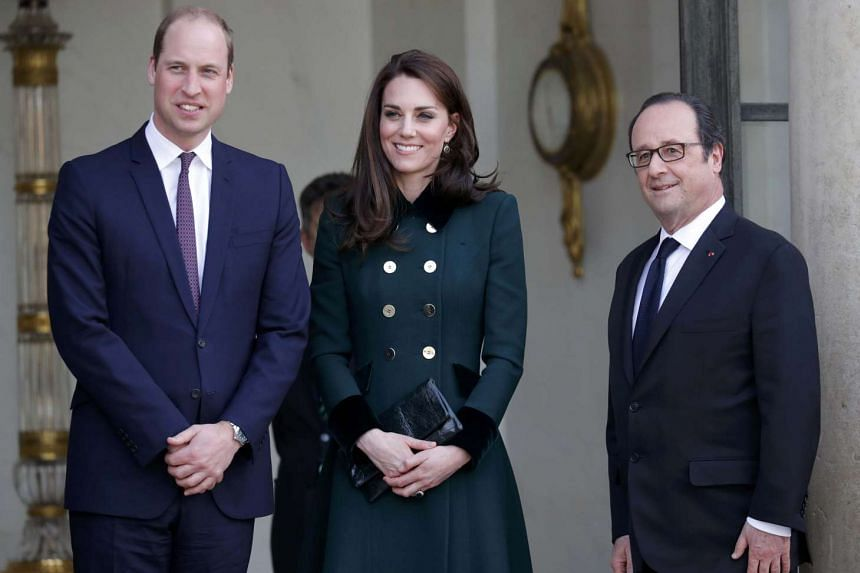 French President Francois Hollande (right) with Britain's Catherine the Duchess of Cambridge and Prince William in Paris, France, March 17, 2017.