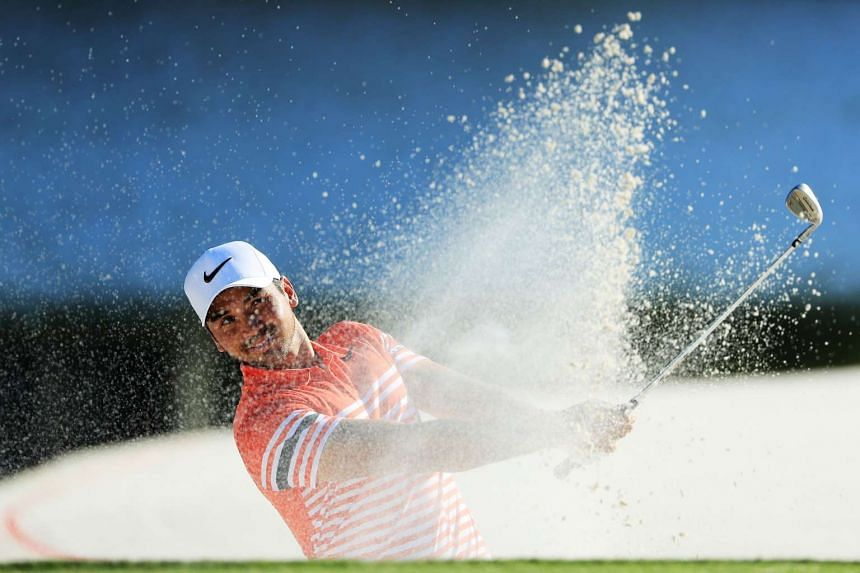Jason Day of Australia playing a shot during the second round of the Arnold Palmer Invitational Presented By MasterCard at Bay Hill Club and Lodge on March 17, 2017, in Orlando, Florida.