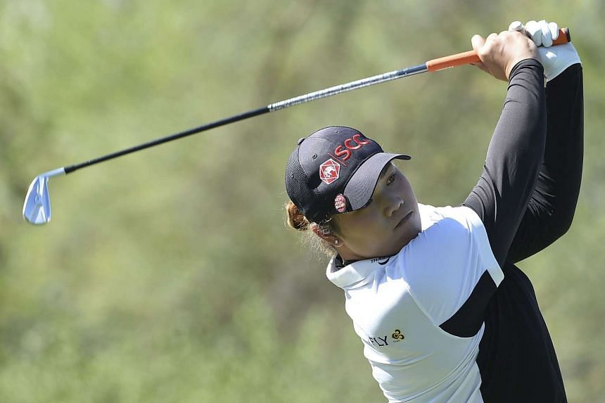 Ariya Jutanugarn of Thailand hits her drive on the third hole during the second round of the Bank Of Hope Founders Cup at Wildfire Golf Club at the JW Marriott Desert Ridge Resort in Phoenix, Arizona on March 17, 2017.